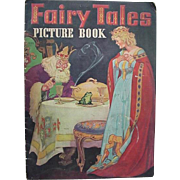 Fairy Tales Picture Book Linen Pages By Whitman Publishing Company 1940's