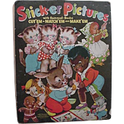 Black Americana Sambo Rabbit Kittens Chicken On Front Sticker Pictures Book 1940s Merrill Publishing Co