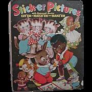 Black Americana Sambo Rabbit Kittens Chicken On Front Sticker Pictures Book 1940s Merrill Publishing Co