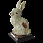 G Armani Giuseppe Armani Rabbit Figurine On Wood Base 1984