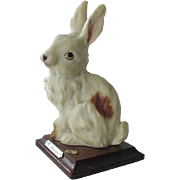 G Armani Giuseppe Armani Rabbit Figurine On Wood Base 1984