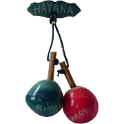 Havana Cuba Pin 1950s with Rumba Shakers