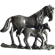 Sterling Silver Horse And Her Foal Pin Stamped 925