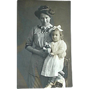 Real Photo Postcard Mother Daughter And Dolls