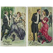 Incised A Happy New Year Postcard Made In Germany Lot Of 2
