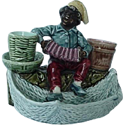 Black Americana Majolica Figural Match Cigarette Holder Smoke Set Boy Playing Accordion