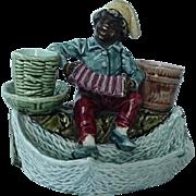 Black Americana Majolica Figural Match Cigarette Holder Smoke Set Boy Playing Accordion
