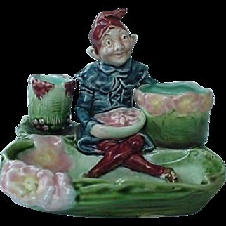 Majolica Figural Match Cigarette Holder Smoke Set Elf Holding Bowl Of Food