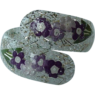 Lucite Hinged Clamper Bracelet With Lovely Purple Flowers Confetti Background