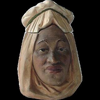 Black Americana Figural Bisque Desert Nomad Humidor Tobacco Jar