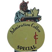 Black Americana Admiration Coffee Counter Top Store Advertising Mammy Holding Coffee Pot Cup And Creamer
