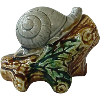 French Majolica Bank Snail On A Log