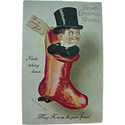 Clapsaddle Hearty Christmas Postcard Man Standing In Christmas Stocking