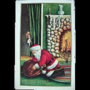 Santa Claus Postcard With Girl Peeking Title Iv'e Caught You