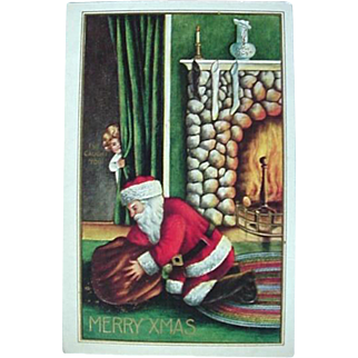 Santa Claus Postcard With Girl Peeking Title Iv'e Caught You