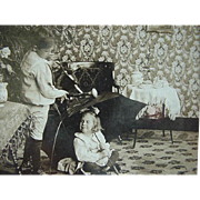 Stereoview Stereo view Card Universal Photo Art Co Title Rain In The Parlor Boy Pouring Water On Girl