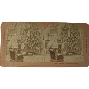 Victorian Christmas Stereoview Stereo view Card B W Kilburn Santa Standing By Christmas Tree