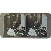 Stereoview Stereo view Card Universal Photo Art Co Girl Dressing Her Dolls
