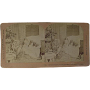 Christmas Stereoview Stereo View Card Girls Saying Prayers To Bless Mother Father And Santa