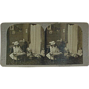 Stereoview Stereo view Card Universal Photo Art Co Girl Baking For Her Dolls
