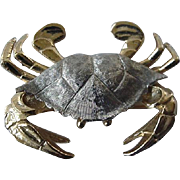 Napier Silvertone And Goldstone Crab Pin Brooch 1980s