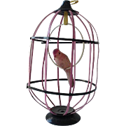 Celluloid Bird In Pink Cage Christmas Ornament 1940's