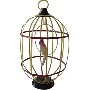 Celluloid Bird In Cage Christmas Ornament 1940's