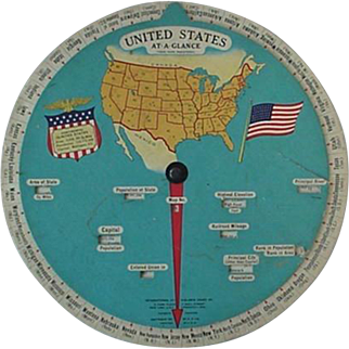 Circular Slide Rule At A Glance Wheel United States Map 1930s