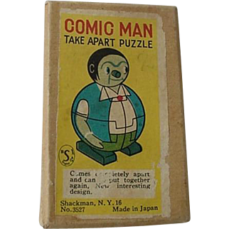 Comic Man Take Apart Puzzle In Box With Instructions 1960