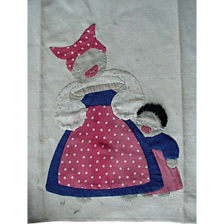 Vintage Folk Art Mammy And Child Towel 1930s-40s