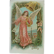 Easter Greeting Gel Covered Postcard Angel With Lovely Gold Trim