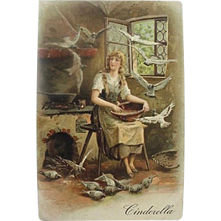 Cinderella Fairly Tale Incised Postcard Printed in Germany