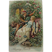 Sleeping Beauty Incised Fairy Tale Postcard made in Germany