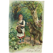 Little Red Riding Hood Incised Fairy Tale Postcard Made In Germany