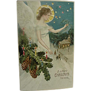 Hold To Light A Happy Christmas To You Postcard Angel Standing Next To Decorative Pine Branch