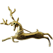 Leaping Flying Reindeer Goldtone Brooch Pin