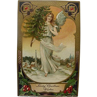 Loving Christmas Wishes Postcard Angel Holding Decorated Christmas Tree Made In Germany Series 9103