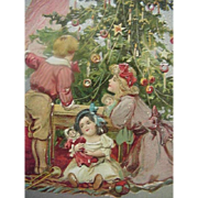Tuck Incised Christmas Postcard Girls Holding Dolls Under The Lovely Decorated Tree Series No 136