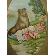 Sleeping Girl Holding Doll And Dog Postcard Title Touch Her If You Dare