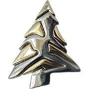 Vintage christmas Tree Pin Brooch  Sign LC Liz Claiborne On Back Silver And Gold Tone