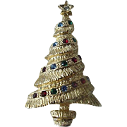 Multi Colored Rhinestone Christmas Tree Goldstone Pin Brooch