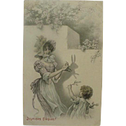 Nice French Postcard Victorian Lady Entertaining Child By Making A Shadow Rabbit