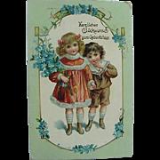 German Postcard Happy Birthday  Herzlichen Glückwunsch zum Geburtstage Girl Holding Flowers And Boy