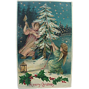 German Embossed Postcard Girl Cutting Down Christmas Tree