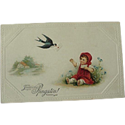 German Postcard Fröhliche Pfingsten Happy Pentecostal Toddler Reaching For Letter