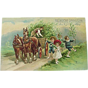 Germany Embossed Postcard Fröhliche Pfingsten Happy Pentecost Children Horse Wooden Wagon 1911
