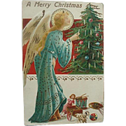 Italy Embossed Christmas Card By S Dattilo Angel Decorating Tree With Candle