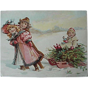 Woodson Spice Co Lion Coffee Girls Pulling Sled Christmas Trading Card Toledo Ohio