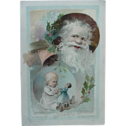Woodson Spice Co Lion Coffee Santa And Girl Playing With Her Doll Christmas Trading Card