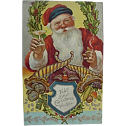 Embossed Postcard Santa Toasting Smoking Cigar And Money All The Vices Santa Clause Series No 2